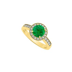 LoveBrightJewelry Pretty Emerald And Cz Ring In 18k Yellow Gold Vermeil