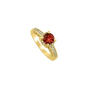 LoveBrightJewelry Pretty Garnet And Cz Ring In 18k Yellow Gold Vermeil