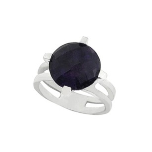 LoveBrightJewelry Pretty Round Checkerboard Cut African Amethyst Ring