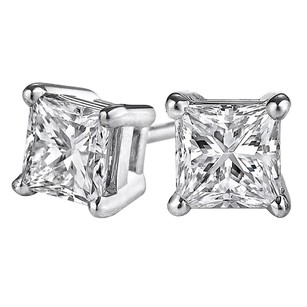 LoveBrightJewelry Princess Cut Conflict Free Diamond Stud Earrings