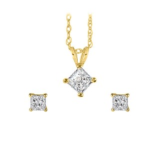 LoveBrightJewelry Princess Cut Diamond Pendant Earrings Jewelry Set Gold