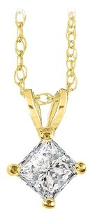 LoveBrightJewelry Princess Cut Diamond Solitaire Pendant with Free Chain
