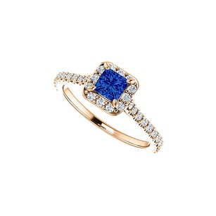 LoveBrightJewelry Princess Cut Sapphire CZ Halo Ring in 14K Rose Vermeil