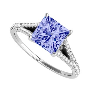LoveBrightJewelry Princess Cut Tanzanite Diamonds Engagement Ring Gold