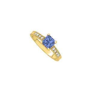 LoveBrightJewelry Princess Cut Tanzanite With Brilliant Cut Czs On Yellow Gold Vermeil Engagement Ring Great Price