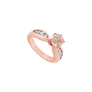 LoveBrightJewelry Prong Set Morganite With Channel Set Diamonds On 14k Rose Gold Engagement Ring At Fab Price
