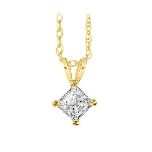 LoveBrightJewelry Real Diamond Solitaire Pendant with 14K Gold Free Chain