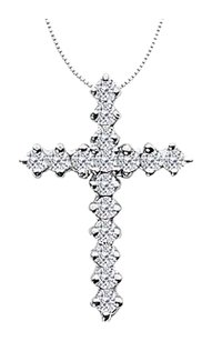 LoveBrightJewelry Religious Diamond Cross Neckalce in White Gold 14K of 0.65 Diamonds
