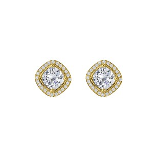 LoveBrightJewelry Rhombus Design Cubic Zirconia Yellow Gold Stud Earrings