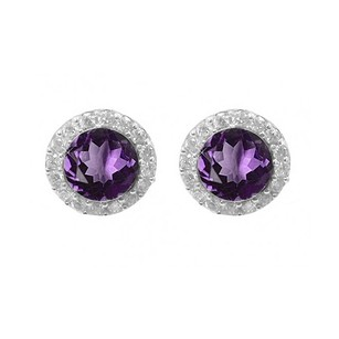 LoveBrightJewelry Round Amethyst And Round White Cz In Sterling Silver Halo Earrings