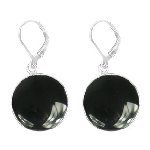 LoveBrightJewelry Round Black Onyx Bezel Set Earrings in Sterling Silver