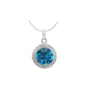 LoveBrightJewelry Round Blue Topaz And Cubic Zirconia In Sterling Silver Halo Pendant