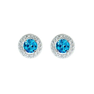 LoveBrightJewelry Round Blue Topaz And Round White Cz Sterling Silver Stud Earrings
