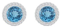 LoveBrightJewelry Round Blue Topaz and Round White Topaz in Halo Stud Sterling Silver Earrings