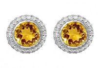 LoveBrightJewelry Round Citrine And Round Cz In Halo Stud Sterling Silver Earrings