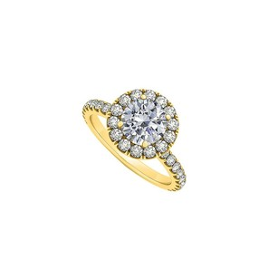 LoveBrightJewelry Round Cubic Zirconia April Birthstone Halo Engagement Ring In 18k Yellow Gold Vermeil