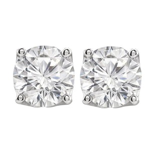 LoveBrightJewelry Round Cubic Zirconia Stud Earrings in Sterling Silver