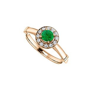 LoveBrightJewelry Round Emerald And Cz Halo Engagement Ring In 14k Gold
