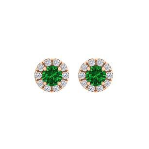 LoveBrightJewelry Round Emerald CZ Halo Stud Earrings Rose Gold Vermeil