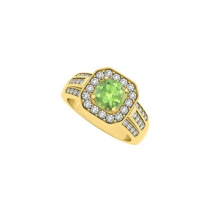 LoveBrightJewelry Round Peridot And Three Rows Cubic Zirconia Square Halo Fashion Ring