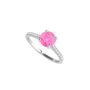 LoveBrightJewelry Round Pink Sapphire Cz Engagement Ring 1.25 Ct Tgw