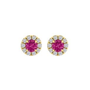 LoveBrightJewelry Round Pink Sapphire CZ Halo Stud Earrings Gold Vermeil