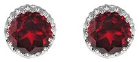 LoveBrightJewelry Round Striking Red Garnet 925 Silver Earrings Push Back