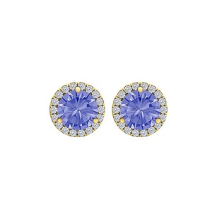 LoveBrightJewelry Round Tanzanite CZ Halo Stud Earrings 14K Yellow Gold