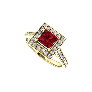LoveBrightJewelry Ruby and Cubic Zirconia Square Halo Ring Gold Vermeil