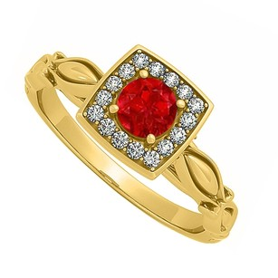 LoveBrightJewelry Ruby And Cz Engagement Ring In 18k Yellow Gold Vermeil