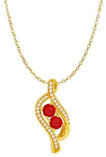 LoveBrightJewelry Ruby Two Stone CZ Accented Pendant 18K Gold Vermeil