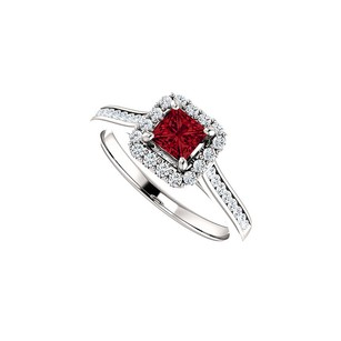 LoveBrightJewelry Ruby with Prong Bezel and Channel Set CZ Halo Ring
