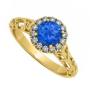 LoveBrightJewelry Sapphire And Cubic Zirconia Halo Filigree Engagement Ring In 18k Yellow Gold Vermeil 0.66 Ct Tgw
