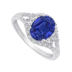 LoveBrightJewelry Sapphire And Cz Split Shank Ring In Sterling Silver