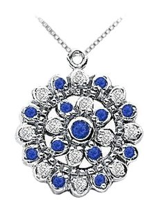 LoveBrightJewelry Sapphire and Diamond Flower Pendant 14K White Gold 0.50 CT TGW