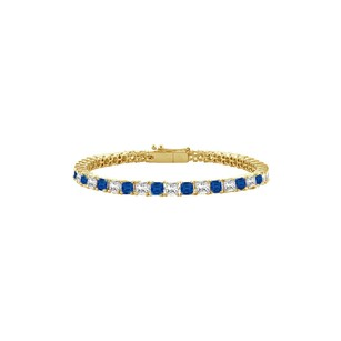 LoveBrightJewelry Sapphire and Diamond Tennis Bracelet with 5.00 CT TGW on 14K Yellow Go