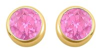 LoveBrightJewelry September Birthstone Created Pink Sapphire Bezel Stud Earrings 18K Yellow Gold Vermeil over Silv