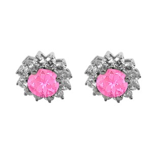 LoveBrightJewelry September Birthstone Created Pink Sapphire With Cz Earrings In Sterling Silver