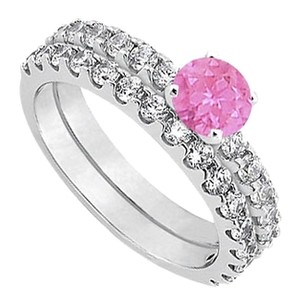 LoveBrightJewelry September Birthstone Created Pink Sapphire with CZ Engagement Rings with Wedding Band Set in Fine Silver 1.50 CT TGW