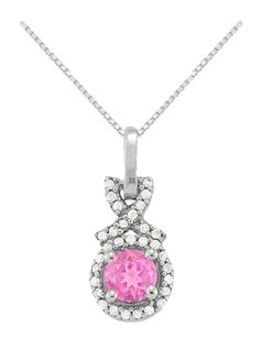 LoveBrightJewelry September Birthstone Created Pink Sapphire with CZ Halo Pendant in Sterling Silver