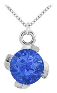 LoveBrightJewelry September Birthstone Created Sapphire Pendant in 925 Sterling Silver 1.00 CT TGW