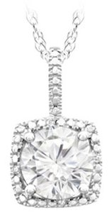 LoveBrightJewelry September Birthstone Created White Sapphire and Diamond Pendant in Sterling Silver 1.50 CT TGW.