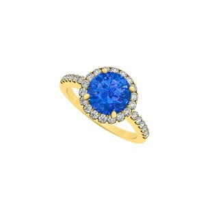 LoveBrightJewelry September Birthstone Sapphire And Cubic Zirconia Halo Engagement Ring In 18k Yellow Gold