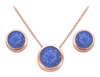 LoveBrightJewelry September Birthstone Sapphire Pendant and Stud Earrings Set in 14K Rose Gold Vermeil