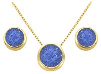 LoveBrightJewelry September Birthstone Sapphire Pendant and Stud Earrings Set in 18K Yellow Gold Vermeil