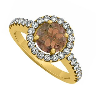 LoveBrightJewelry Smoky Quartz June And Cubic Zirconia April Birthstone Halo Engagement Ring Yellow Gold Vermeil