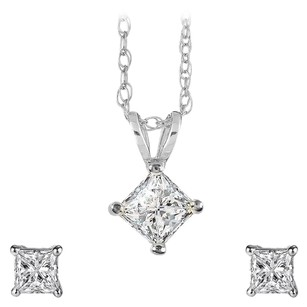 LoveBrightJewelry Sparkling Natural Diamond Pendant Earrings Jewelry Set