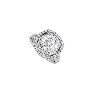 LoveBrightJewelry Split Band Cubic Zirconia Halo Engagement Ring With Big Cz In 14k White Gold 4 Tgw