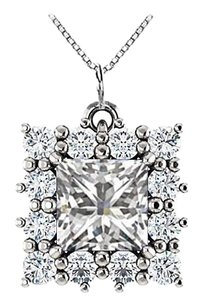 LoveBrightJewelry Square Halo CZ Pendant in 925 Sterling Silver 0.75.ct.tw