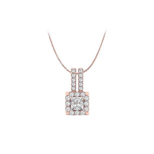 LoveBrightJewelry Square Halo Pendant With Cz In 14k Rose Gold Vermeil